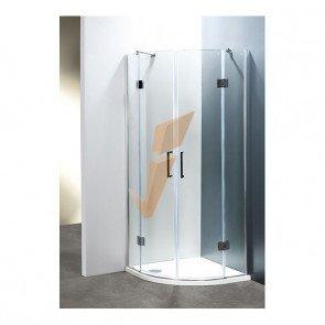 Box Doccia Serie Platinum Angolare Semitondo con Due Porte a Battente 80x80 cm